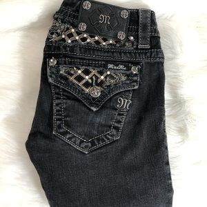 Miss Me black rhinestone pearl gold leather jeans